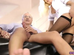 euro nurse rides old dude