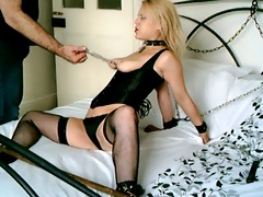 british golden-haired sub floozy handcuffed up