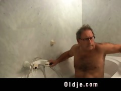 sexually excited youthful maid copulates an old