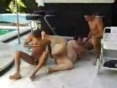 big beautiful woman screwed round pool by 8 chaps
