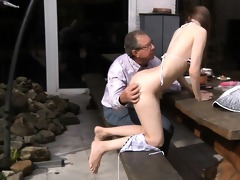 oldman copulates charming beata in his backyard