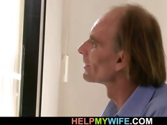 old spouse watches his juvenile wife takes big