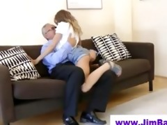 sexy honey is jerking off old guy