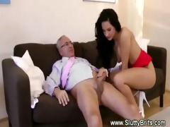 old guy receiving head by youthful babe