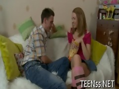 concupiscent legal age teenager fucks with stags