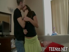 pleasing legal age teenager plays with big tool