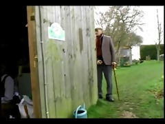 old guy catches maid with bf so he is bonks her
