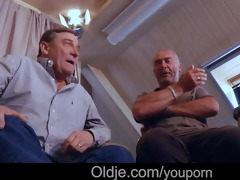 old school gang gangbang with sexy blond legal