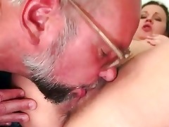 grand-dad and unshaved juvenile gal pissing and