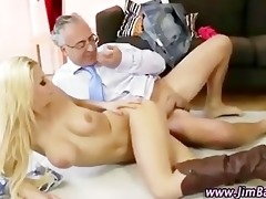 tiny golden-haired wench receives a jizz flow