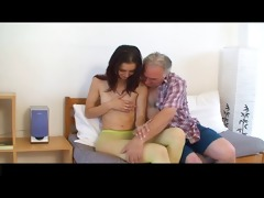 diminutive tittted cutie gets screwed by old man