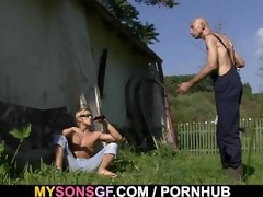old daddy toying his sons gf love tunnel
