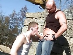 large dad copulates chap in the arse outdoor