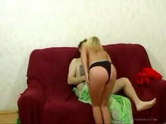 horny blond russian daughter drilled her own